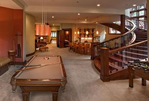 Contemporary Basement with Columns, Concrete floors, SPENCER MARSTON COVENTRY POOL TABLE, Exposed beam, Pendant light