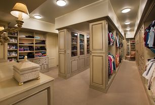 Traditional Closet with Recessed ceiling, Standard height, specialty door, Walk in closet, Built-in bookshelf, Wall sconce