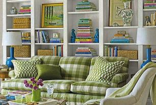 Traditional Living Room with Carpet, MicroD Living Room - Zacara Sofa Green and Yellow Plaid, Built-in bookshelf