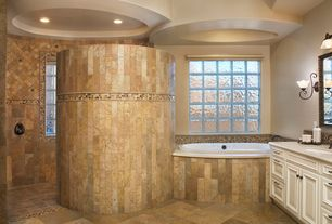 Traditional Master Bathroom with Flat panel cabinets, Bathtub, Corian counters, partial backsplash, picture window, Flush