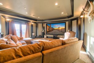 Country Home Theater with Carpet, Crown molding, Wall sconce, French doors