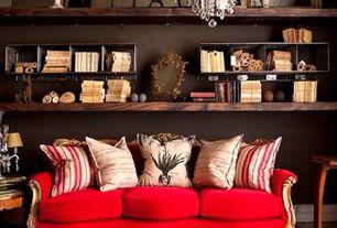 Eclectic Living Room with Hardwood floors, Built-in bookshelf, Standard height, Chandelier