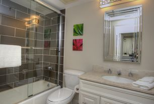 Traditional Full Bathroom with Limestone counters, Flat panel cabinets, Limestone, Undermount sink, Raised panel, Rain shower