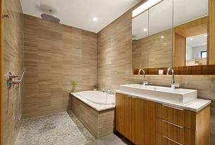 Contemporary Full Bathroom with Complex marble counters, Handheld showerhead, Vessel sink, Double sink, Rain shower, Flush