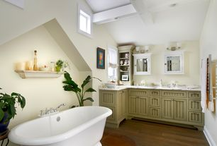 Cottage Master Bathroom with Towel warmer, Hardwood floors, Box ceiling, Bathtub, Casement, Complex marble counters, Paint 2