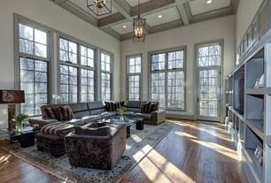 Contemporary Living Room with High ceiling, Crown molding, Transom window, Box ceiling, French doors, Pendant light