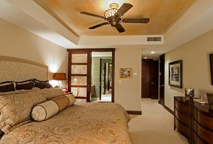 Contemporary Master Bedroom with Carpet, Ceiling fan