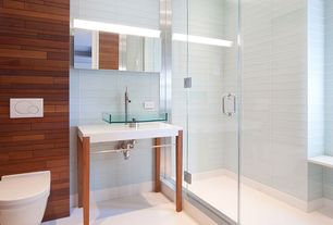 Contemporary 3/4 Bathroom with Shower, Moen Lever Single Hole Vessel Bathroom Faucet with Single Handle, Standard height