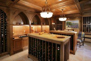 Craftsman Wine Cellar with Built-in bookshelf, terracotta tile floors, Box ceiling, Pendant light