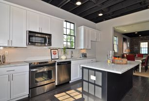 Contemporary Kitchen with Simple granite counters, European Cabinets, One-wall, Kitchen island, dishwasher, Undermount sink