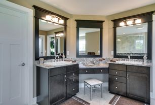 Modern Master Bathroom with Flush, Flat panel cabinets, complex granite tile counters, specialty door, flush light