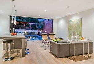 Living Room with Standard height, specialty window, Pendant light, Hardwood floors, can lights