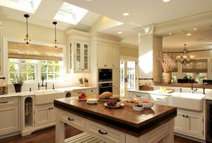 Traditional Kitchen with Flush, Pendant light, Kitchen island, Pottery barn hundi cut glass lantern, Wine refrigerator