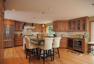 Traditional Kitchen with Subway Tile, Glass panel, Custom hood, French doors, Safavieh seth bar stool, Breakfast bar