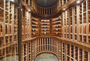 Contemporary Wine Cellar with Built-in bookshelf, Concrete tile