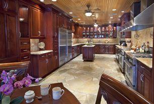 Craftsman Kitchen with U-shaped, Roterra Slate Tile - Meshed Back Patterns Golden White / Flag Stone Pattern, Complex Granite
