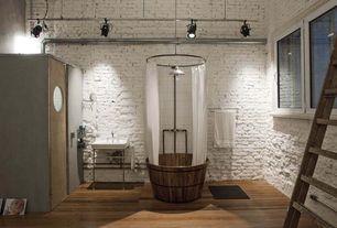 "Eclectic 3/4 Bathroom with Wood Barrel bath tub WOODEN bathtub 38"" x 34"", Console sink, Hardwood floors, flush light, Sauna"