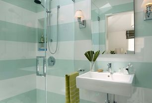 Contemporary 3/4 Bathroom with frameless showerdoor, Skylight, Venezia 12 in x 24 in Glass Tile in Grey/Blue, Wall sconce