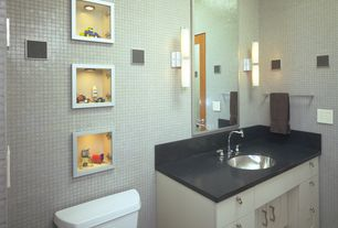 Modern Powder Room with Wall sconce, European Cabinets, Flush, Kids bathroom, Undermount sink, Glass panel door, Soapstone