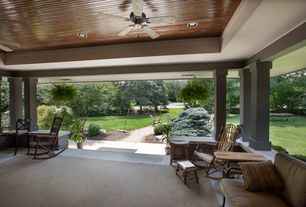 Craftsman Porch with exterior concrete tile floors, Screened porch, exterior tile floors, Pathway