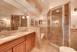 Craftsman Master Bathroom with Stone Tile, Inset cabinets, Double sink, Undermount sink, Raised panel, Simple Granite Tile