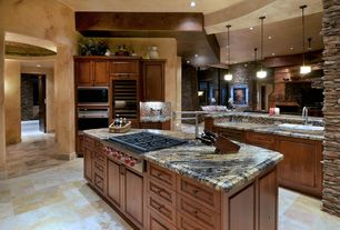 Eclectic Kitchen with Wine refrigerator, Kitchen island, Galley, Rainforest green polished marble, slate tile floors, Flush