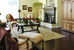 Traditional Living Room with Crown molding, Built-in bookshelf, Laminate floors