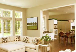 Contemporary Living Room with Hardwood floors, Casement, can lights, Standard height