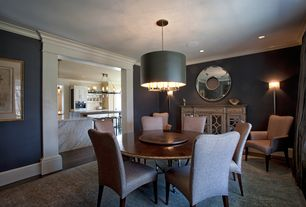 Contemporary Dining Room with Safavieh Thom Filicia Shag Silver Rug, Pendant light, Hardwood floors, paint2, Crown molding