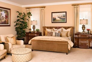 Traditional Master Bedroom with Crown molding, Carpet, Standard height, specialty window