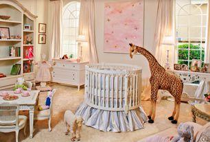 Traditional Kids Bedroom with Built-in bookshelf, Art desk, AFK Juliette Versailles Table & Chair Set, Carpet, Arched window