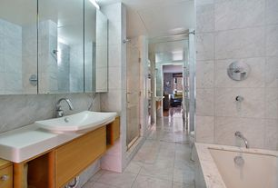 Contemporary Master Bathroom with Flush, frameless showerdoor, Master bathroom, Ms international bianco venatino marble