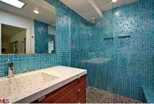 Contemporary 3/4 Bathroom with frameless showerdoor, Rain shower, Flush, Zebrawood cabinets, Wall Tiles, Glass Tile, Shower