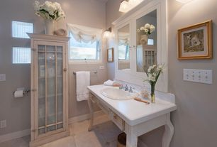 """Cottage Full Bathroom with Simple Marble, Flush, Corian Vanity Top - Up To 42"""", Flat panel cabinets, Simple marble counters"""