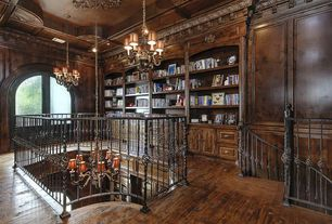 Traditional Library with Chandelier with micah shades, Chandelier, Exposed beam, Crown molding, French doors, Hardwood floors