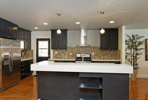 Contemporary Kitchen with Shaker cabinet, Kitchen island, full backsplash, European Cabinets, Pendant light, Flush, L-shaped