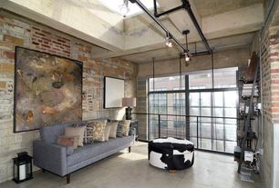 Contemporary Living Room with Skylight, Standard height, Concrete tile , specialty window, Pendant light, Exposed beam