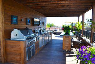 Modern Porch with Outdoor kitchen, Wrap around porch, Pathway, Custom barbecue