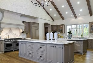 Country Kitchen with Complex Marble, Global views grande urn with lid white, Exposed beam, full backsplash, Multiple islands