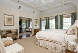Traditional Master Bedroom with Built-in bookshelf, French doors, Laminate floors, double-hung window, Box ceiling