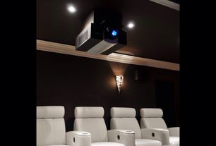 Traditional Home Theater with 60872 - jaymar home theater seats, Wall sconce, Crown molding, Paint, can lights, Projector
