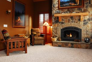 Country Living Room with High ceiling, stone fireplace, Fireplace, Interior window shutters, specialty window, Paint, Carpet