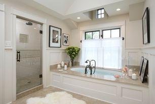 Traditional Master Bathroom with Bathtub, Paint 1, drop in bathtub, Safavieh sheepskin white rug, frameless showerdoor