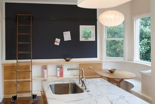 Contemporary Kitchen with Complex marble counters, European Cabinets, Undermount sink, Pendant light, Window seat