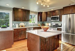 Craftsman Kitchen with Kitchen island, Flush, Dura Supreme Cabinetry Craftsman Panel, Flat panel cabinets, flush light