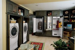 Country Laundry Room with Front load washer, terracotta tile floors, Ceramic floor tile, Built-in bookshelf
