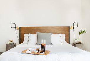 Modern Master Bedroom with High ceiling, Hardwood floors