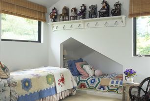 Cottage Kids Bedroom with Carpet, no bedroom feature, double-hung window, Built-in bookshelf, Standard height