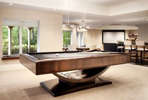 Contemporary Game Room with Carpet, Pendant light