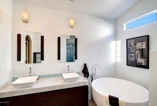 Contemporary Master Bathroom with Pendant light, European Cabinets, Double sink, Freestanding, Flush, Complex marble counters